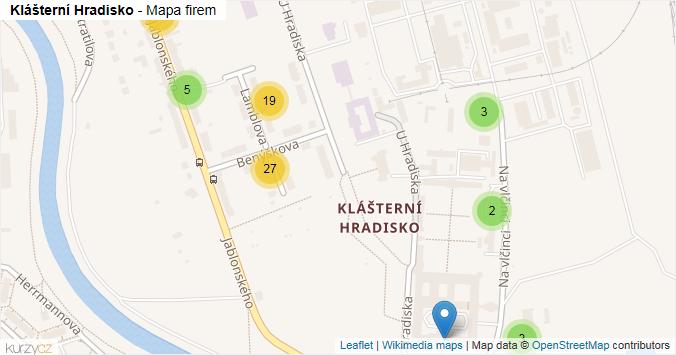 Klášterní Hradisko - mapa rozložení firem v části obce.