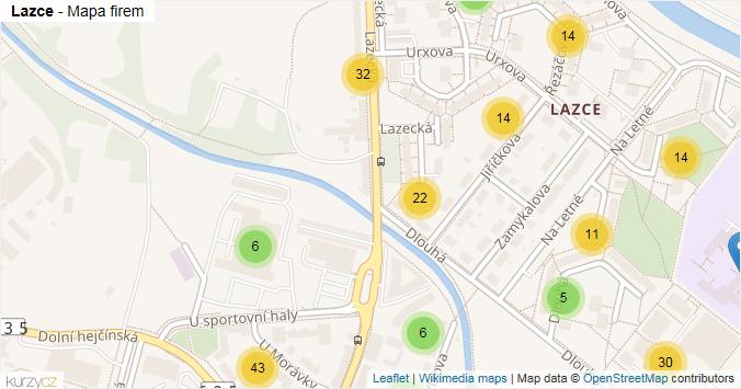 Lazce - mapa rozložení firem v části obce.