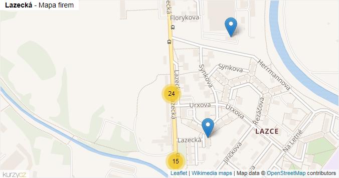 Lazecká - mapa rozložení firem v ulici.