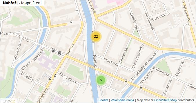 Nábřeží - mapa rozložení firem v ulici.