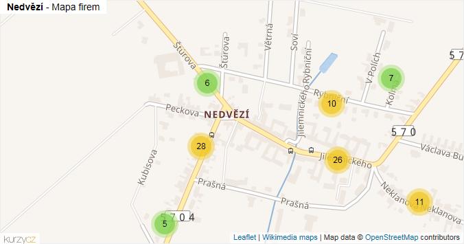 Nedvězí - mapa rozložení firem v části obce.
