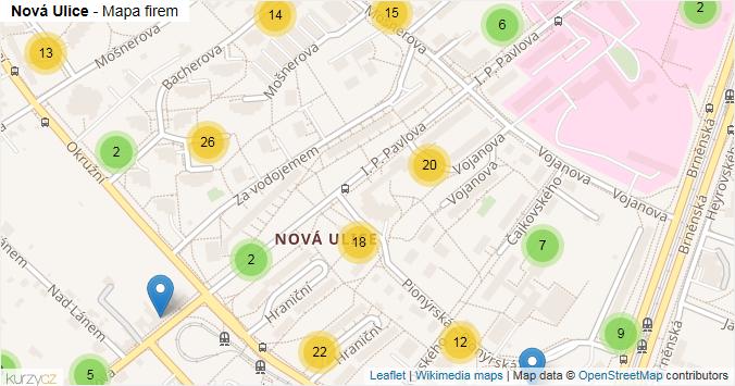 Nová Ulice - mapa rozložení firem v části obce.