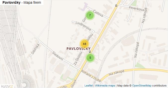 Pavlovičky - mapa rozložení firem v části obce.
