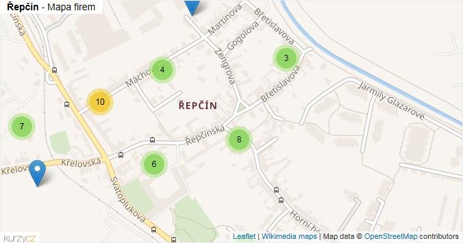 Řepčín - mapa rozložení firem v části obce.