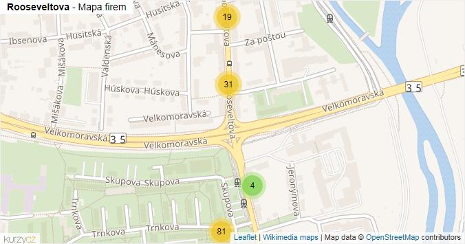 Rooseveltova - mapa rozložení firem v ulici.