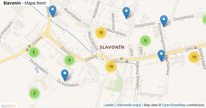Slavonín - mapa rozložení firem v části obce.