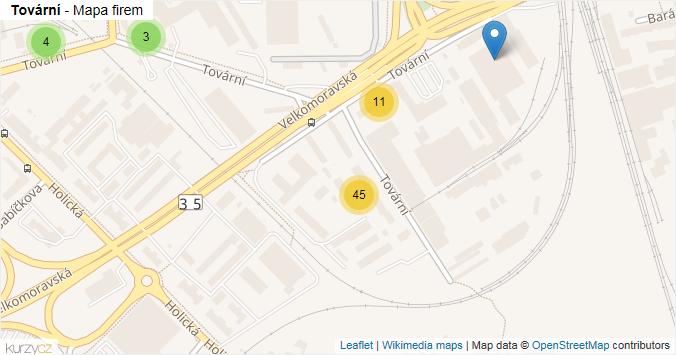 Tovární - mapa rozložení firem v ulici.