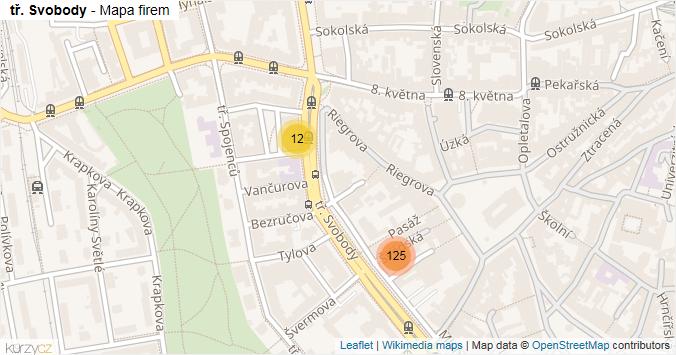 tř. Svobody - mapa rozložení firem v ulici.
