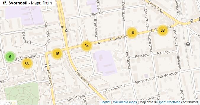 tř. Svornosti - mapa rozložení firem v ulici.