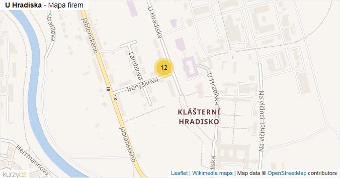 U Hradiska - mapa rozložení firem v ulici.