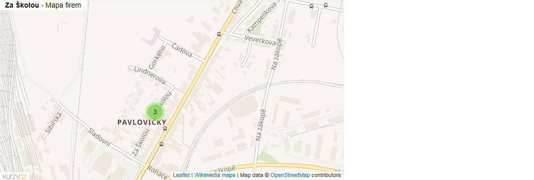 Za Školou - mapa rozložení firem v ulici.