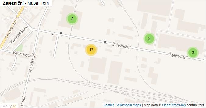 Železniční - mapa rozložení firem v ulici.