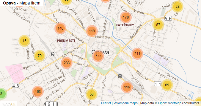 Opava - mapa rozložení firem v obci.