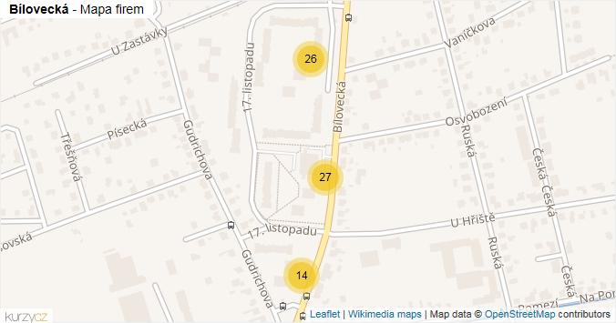 Bílovecká - mapa rozložení firem v ulici.