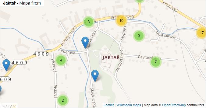 Jaktař - mapa rozložení firem v části obce.