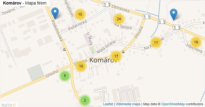 Komárov - mapa rozložení firem v městské části.