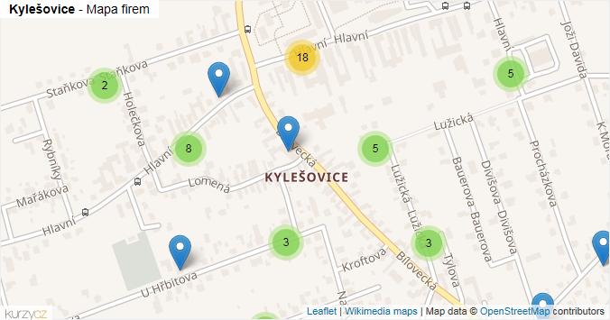 Kylešovice - mapa rozložení firem v části obce.