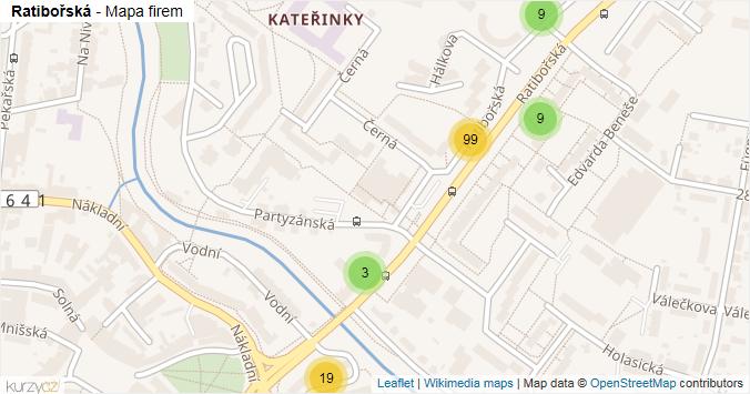 Ratibořská - mapa rozložení firem v ulici.