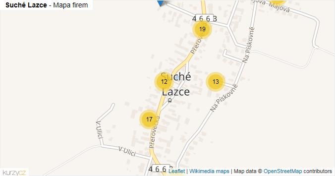 Suché Lazce - mapa rozložení firem v části obce.