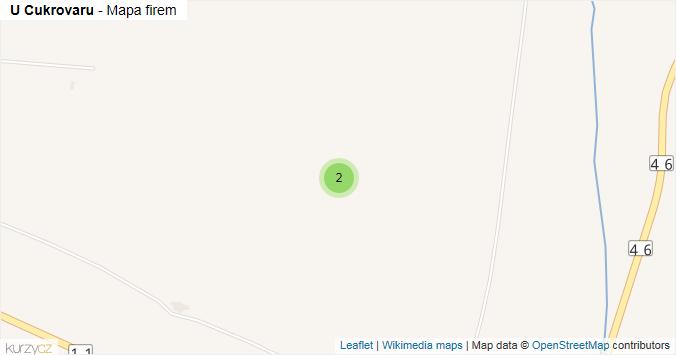 U Cukrovaru - mapa rozložení firem v ulici.