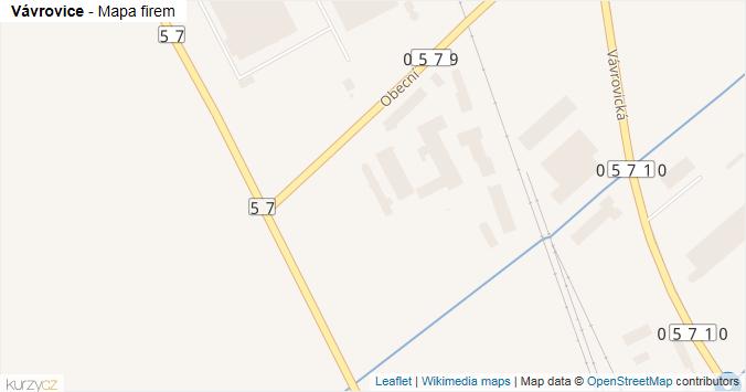 Vávrovice - mapa rozložení firem v městské části.