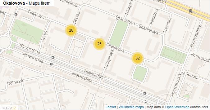 Čkalovova - mapa rozložení firem v ulici.