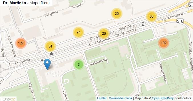 Dr. Martínka - mapa rozložení firem v ulici.