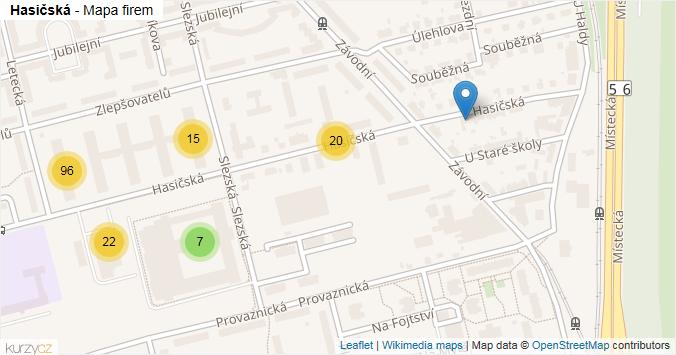 Hasičská - mapa rozložení firem v ulici.