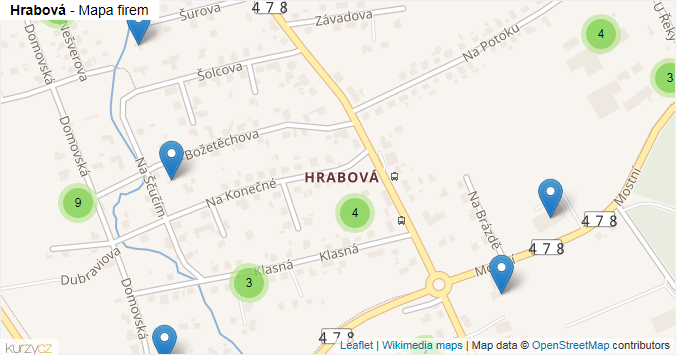 Hrabová - mapa rozložení firem v části obce.