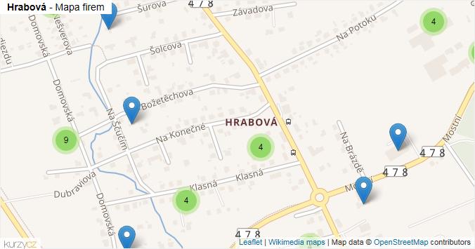 Hrabová - mapa rozložení firem v městské části.
