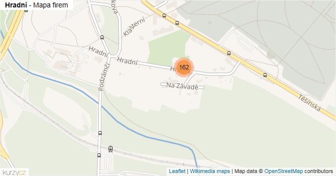 Hradní - mapa rozložení firem v ulici.