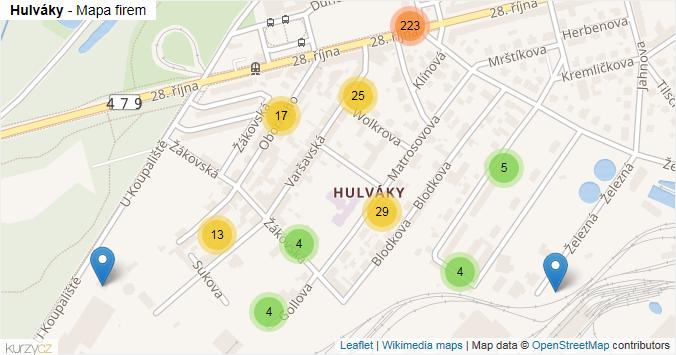 Hulváky - mapa rozložení firem v části obce.