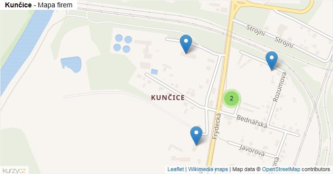 Kunčice - mapa rozložení firem v části obce.