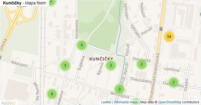 Kunčičky - mapa rozložení firem v části obce.