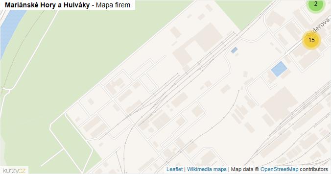 Mariánské Hory a Hulváky - mapa rozložení firem v městské části.