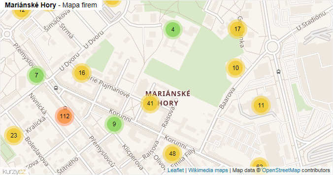 Mariánské Hory - mapa rozložení firem v části obce.