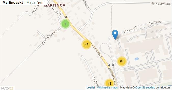 Martinovská - mapa rozložení firem v ulici.