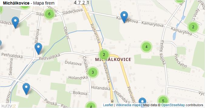 Michálkovice - mapa rozložení firem v městské části.