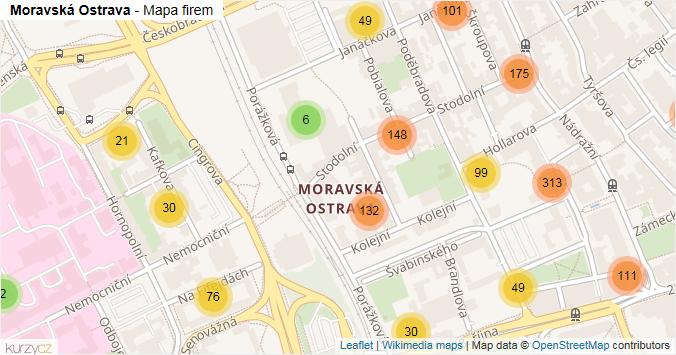 Moravská Ostrava - mapa rozložení firem v části obce.