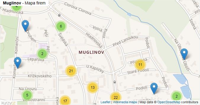 Muglinov - mapa rozložení firem v části obce.