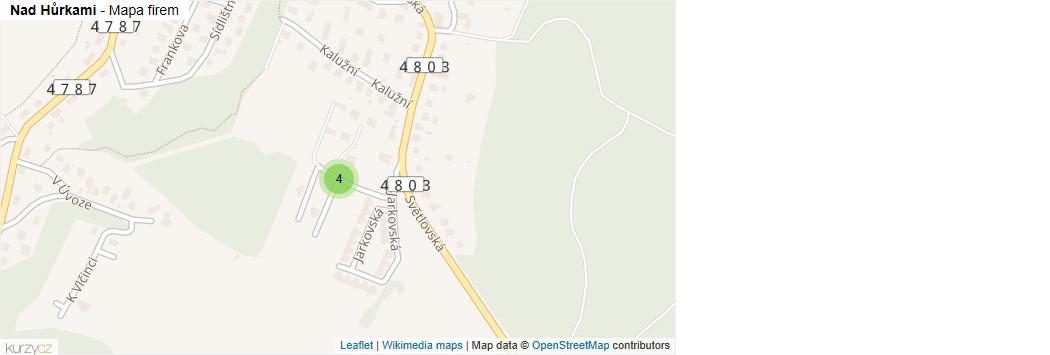 Nad Hůrkami - mapa rozložení firem v ulici.