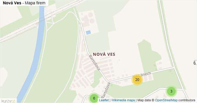 Nová Ves - mapa rozložení firem v městské části.