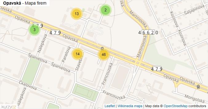 Opavská - mapa rozložení firem v ulici.