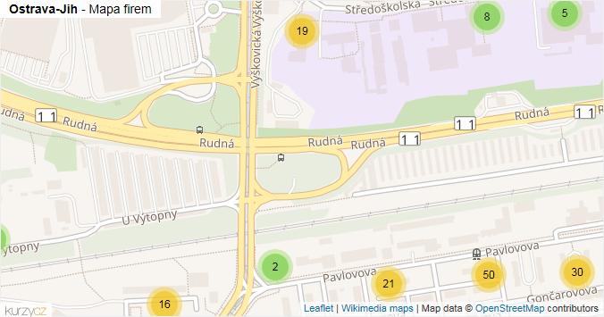 Ostrava-Jih - mapa rozložení firem v městské části.