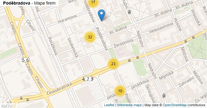 Poděbradova - mapa rozložení firem v ulici.