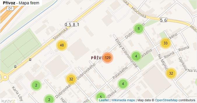 Přívoz - mapa rozložení firem v části obce.