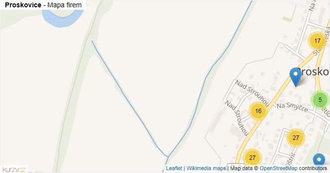 Proskovice - mapa rozložení firem v městské části.