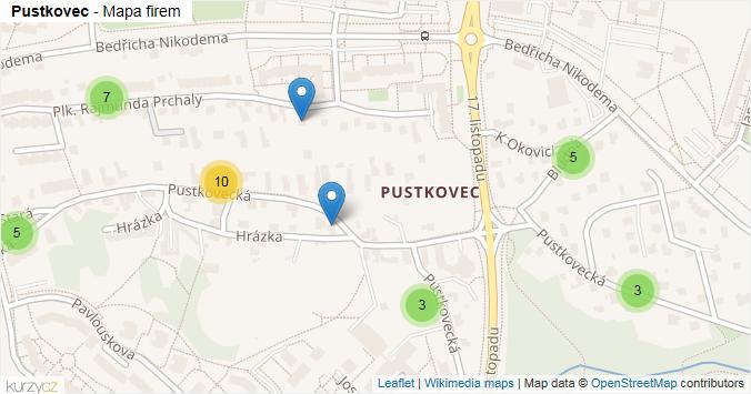 Pustkovec - mapa rozložení firem v městské části.