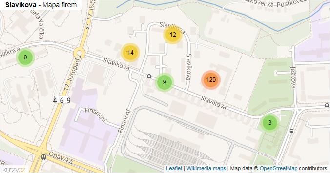 Slavíkova - mapa rozložení firem v ulici.