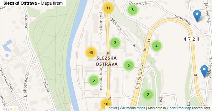 Slezská Ostrava - mapa rozložení firem v části obce.